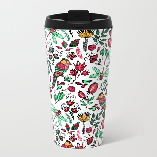 Birds and dragonflies Metal Travel Mug