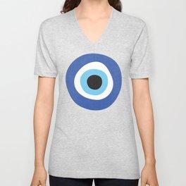 Blue Evil Eye Symbol Lucky Charm Black Background Unisex V-Neck