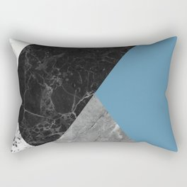 Black and White Marbles and Pantone Niagara Color Rectangular Pillow