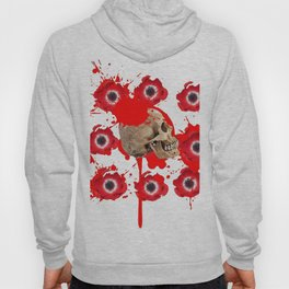 BLACK BLOODY RED EXPLODING BLOOD POPPIES SKULL ART Hoody