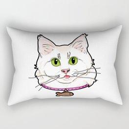 Turkish Angora Cat Face Cats Kitty white funny Rectangular Pillow