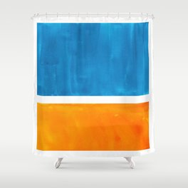 Colorful Jewel Tones Blue Gold Color Block Minimalist Watercolor Art Modern Simple Shapes Shower Curtain
