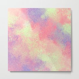 Artsy Abstract Pink Purple Neon Paint Splatter Metal Print