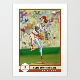Slim Cunningham Baseball Card by michael white of fab-ri-cate Art Print