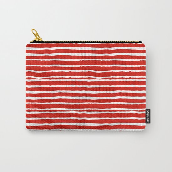 Minimal Christmas red and white holiday pattern stripes candy cane stripe pattern Carry-All Pouch