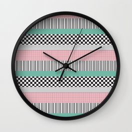Pink and Teal Striped Pattern Wall Clock