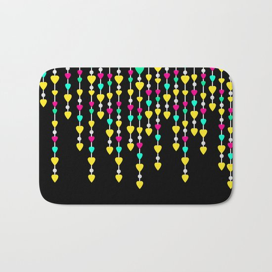 Beads and hearts yellow , pink , green . Bath Mat