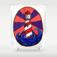 lighthouse Shower Curtains featuring Lighthouse by Shelly Lukas Art