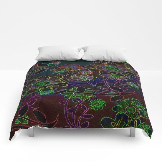 Neon Flower Art Comforters