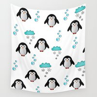 penguins Wall Tapestries featuring cute penguins by MehrFarbeimLeben