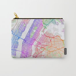 New York City Map of the United States - Colorful Carry-All Pouch