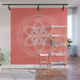 White Mandala On A Living Coral Background Wall Mural
