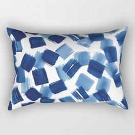 Indigo Brush Stokes Rectangular Pillow