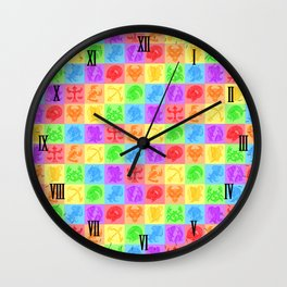 Zodiac Zentangle - All signs (Rainbow Ver.) Wall Clock