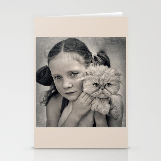 A Girl and her Cat Stationery Cards