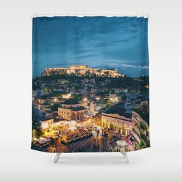 Athens Greece at Dusk Shower Curtain