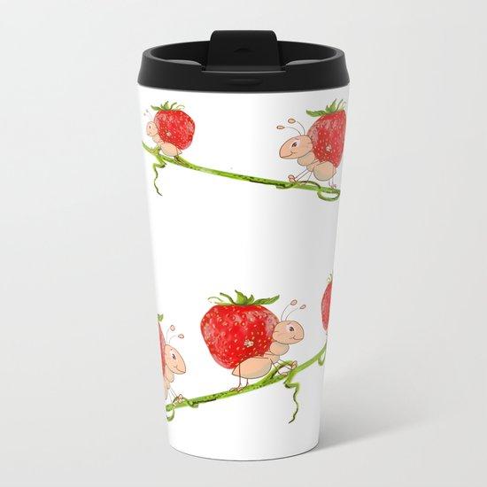 Strawberry Metal Travel Mug
