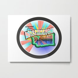 Washington State Greeting Metal Print