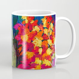 BLOOM WHERE YOU'RE PLANTED Floral Garden Typography Colorful Rainbow Abstract Flowers Inspiration Coffee Mug