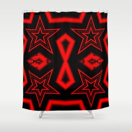 Four red stars pattern Shower Curtain