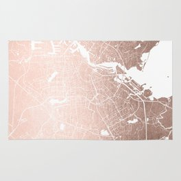 Amsterdam Rosegold on White Street Map Rug