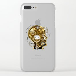 Steampunk Head with Manometer Clear iPhone Case