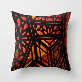 Abstract Red Light Exhibit Throw Pillow