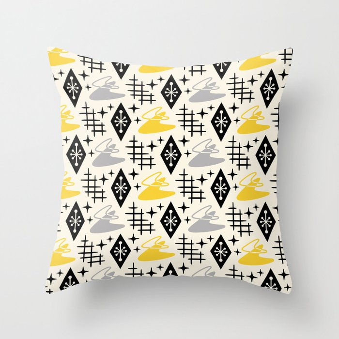 Mid Century Modern Boomerang Abstract Pattern Gray and Yellow 161 Throw Pillow