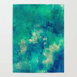 Green Yellow Blue Abstract Poster