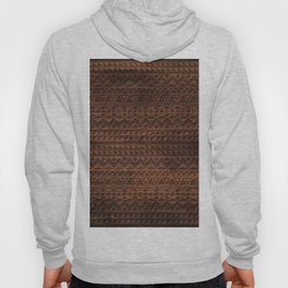 Aztec Tribal Andes Carved brown wood grain pattern Hoody