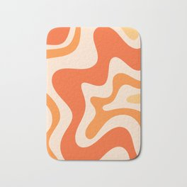 Tangerine Liquid Swirl Retro Abstract Pattern Bath Mat
