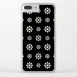 Dark Stylized Floral Pattern Clear iPhone Case
