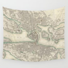 Vintage Map of Stockholm Sweden (1838) Wall Tapestry