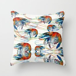 Colorful Shrimp Collage Art by Sharon Cummings Throw Pillow