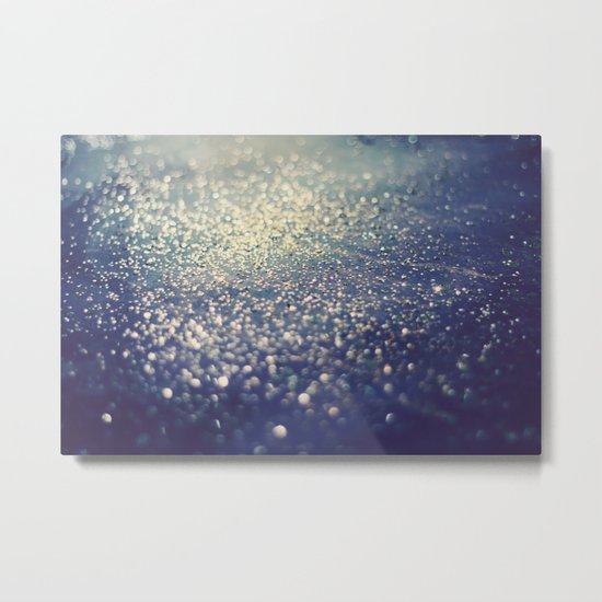 Glitter on Blue Metal Print