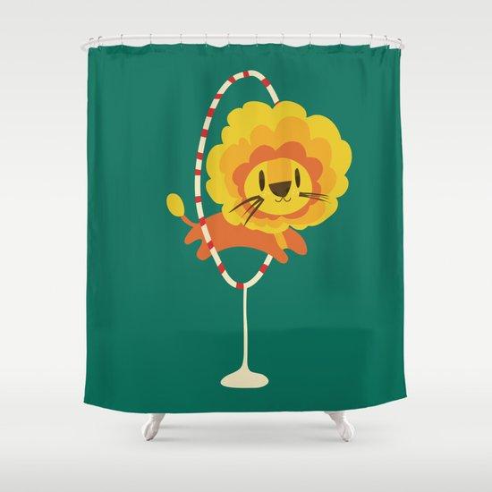 Lion hopped through a loop Shower Curtain