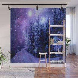Galaxy Winter Forest Lavender Purple Blue Wall Mural