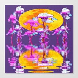 PURPLE-WHITE IRIS & MOON WATER GARDEN  REFLECTION Canvas Print