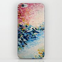 jazzberry iPhone & iPod Skins featuring PARADISE DREAMING Colorful Pastel Abstract Art Painting Textural Pink Blue Tropical Brushstrokes by EbiEmporium