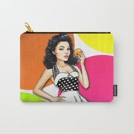 Retro Pinup Girl With Orange - Big Colorful Circles Carry-All Pouch