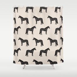 Black horse farm animal horses gifts Shower Curtain