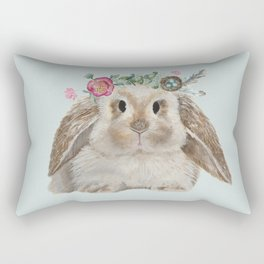 Spring Bunny with Floral Crown Rectangular Pillow