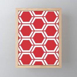 Fire engine red - red - Geometric Polygon Pattern Framed Mini Art Print