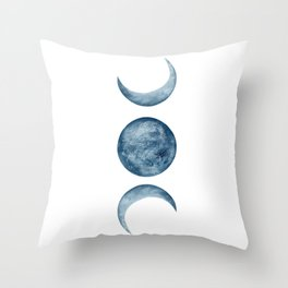 Blue Moon Phases Watercolor Throw Pillow