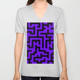 Black and Indigo Violet Labyrinth Unisex V-Neck