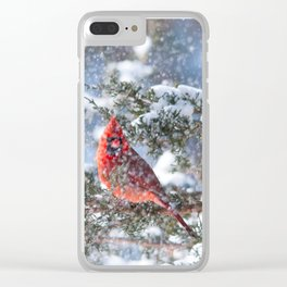 Let It Snow (Northern Cardinal) Clear iPhone Case