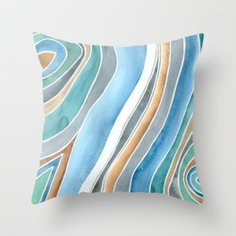 Flowing - Abstract Watercolor/ Acryl Throw Pillow