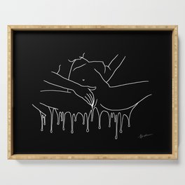 Colorful Climax line b&w - Erotic Art Illustration Nude Sex Sexual Love Lovers Relationship Couple Serving Tray