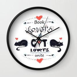 Book & Cat Lovers Wall Clock