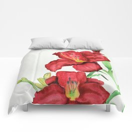 Red Watercolour Lillies Comforters